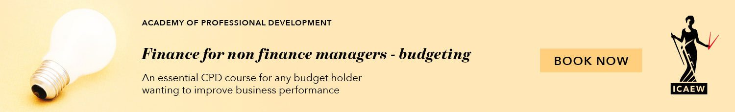 ICAEW – Finance for non-financial managers – budgeting – September 2017